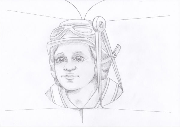 Artist rendering of a head stop designed to look like one of the female members of the team who restored the Abbey.